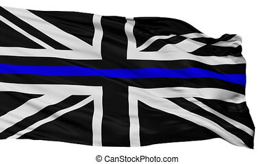 Union Jack Thin Blue Line Flag, Isolated On White Seamless...