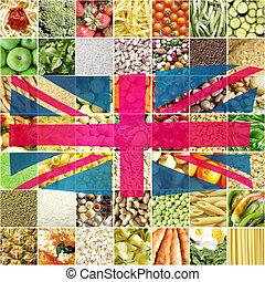 Union Jack UK flag - Eat local British food ecological sign...