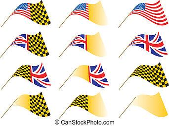 Union Jack, USA Flag Yel