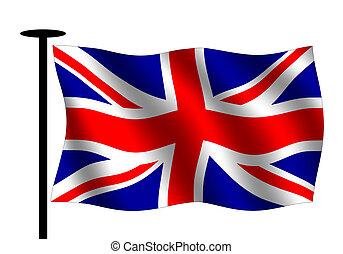 Waving British flag with flag pole