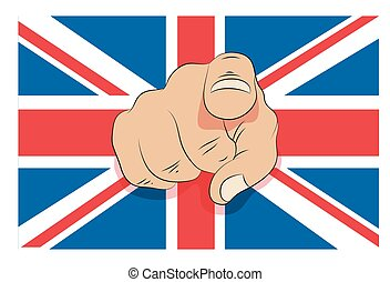 Union jack with pointing finger
