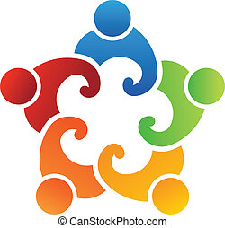 union, logo, équipe, 5 personnes