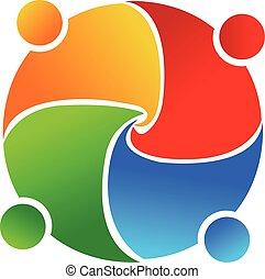 union, logo, vecteur, collaboration