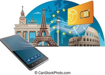 union, mobile, service, européen