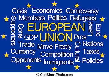 union, mot, nuage, européen