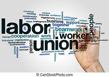 union, mot, nuage, main-d'œuvre