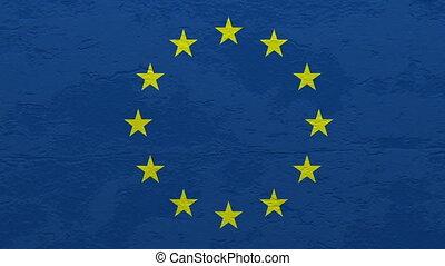 union, mur, drapeau, explosion, européen