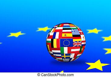 union, pays, drapeaux, europian