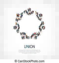 union people symbol - Isometric set of styles, union , web...