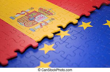 union, puzzle, drapeau, espagne, européen
