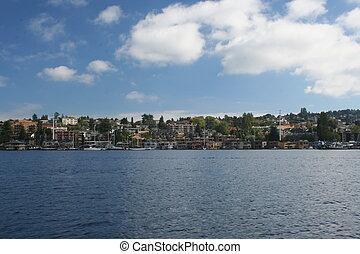 union, rivage, lac