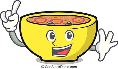 union, soupe, mascotte, dessin animé, doigt