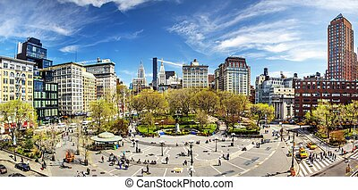 NEW YORK CITY - APRIL 17: Union Square during early spring on April 17, 2013 in New York, NY. The square's name represents the union of the two principal thoroughfares Broadway and 4th Ave.