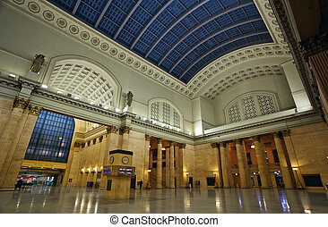 Union Station Chicago. - Image of interior of the Union...