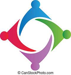 Union symbol logo - Union symbol teamwork logo vector