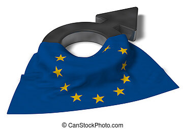 union, symbole, -, rendre, drapeau, européen, mâle, 3d