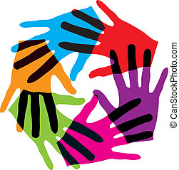 Union touch - Abstract illustration of hands, made in adobe ...