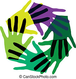 Abstract illustration of hands, made in adobe illustrator