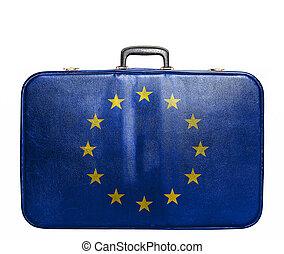 union, vendange, sac voyage, drapeau, européen