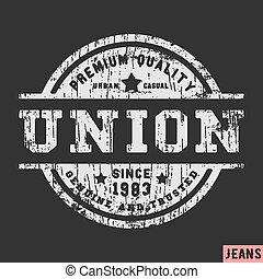 Union vintage stamp - T-shirt print design. Union vintage...