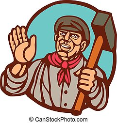 Union Worker With Sledgehammer Linocut