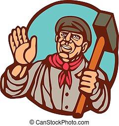 Union Worker With Sledgehammer Linocut