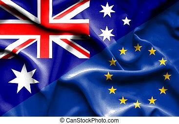unione, bandierina ondeggiamento, australia, europeo