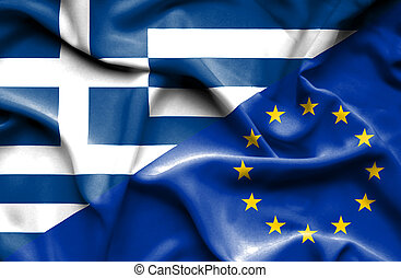 unione, bandierina ondeggiamento, europeo, grecia