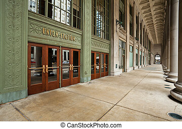 unione, entrance., stazione, chicago
