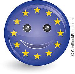 unione europea, faccia sorridente, bandiera