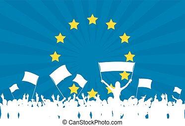 unione, festeggiare, bandiera, folla, europeo