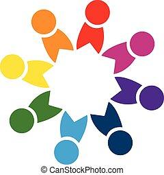 unione, logotipo, squadra, persone