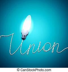 unione, luce, parola, bulbo