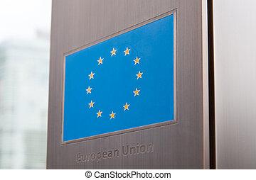 unione, serie, -, bandiere, europeo