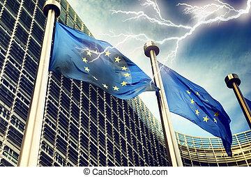 unione, sopra, lampo, bandiere, europeo