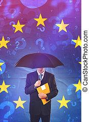unione, uomo affari, europeo, interrogazione