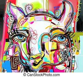 unique abstract digital art painting of llama portrait,...