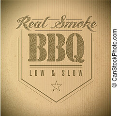 unique and Classic text Barbecue Stamp on a cardboard texture