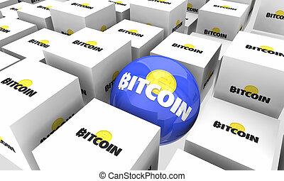 unique, argent, blockchain, bitcoin, illustration, une, cryptocurrency, numérique, choix, mieux, 3d