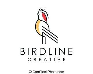 Unique bird line art logo vector illustration