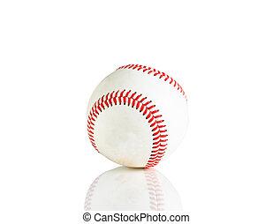 unique, blanc, base-ball, isolé, fond