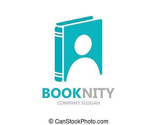 Unique book and man logo combination design template
