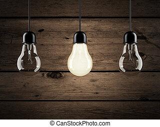 unique bulb on wooden background. 3d render