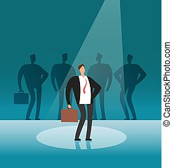 Unique businessman standing in searchlight. Stand out by employer, career and recruitment vector concept