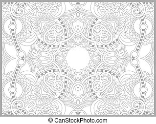 unique coloring book page for adults - flower paisley design...