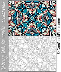 coloring book page for adults - flower paisley design - ...