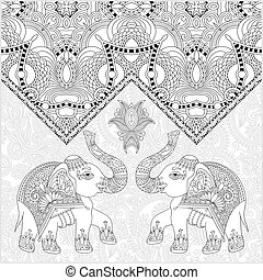 unique coloring book page for adults - flower paisley design wit