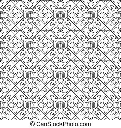 Unique coloring book square page for adults - seamless pattern tile design, joy to older children and adult colorists, who like line art and creation. Black and white vector illustration