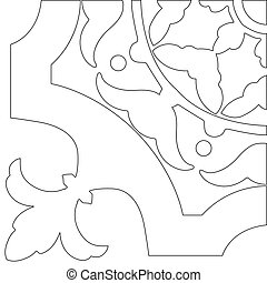 Unique coloring book square page for adults - pattern tile design, joy to older children and adult colorists, who like line art and creation. Black and white vector illustration