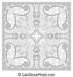 unique coloring book square page for adults - floral carpet...